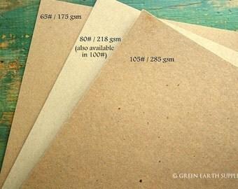 """250 sheets kraft cardstock: 8.5x11 eco card stock, recycled 8 1/2""""x11"""" (216x279mm) 65lb, 105lb, 146lb kraft brown or 80lb, 100lb light brown"""