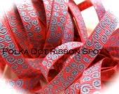 New Wonkie Swirls Glitter Grograin ribbon 5 yards- 3/8 inch Hot Pink/Carolina Blue Sparkle Swirls hair bow craft trim ribbon
