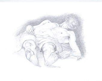 """Study of an Annibale Carracci painting """"The Dead Christ"""" in pencil, A4"""