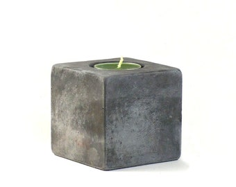 No.13 Cube Concrete Tea Light  Candle Holder