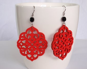 Red and black earrings - surgical steel earwires nickel free lead free