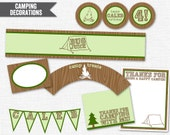 Camping Party Printable PDF (Cupcake Topper and Wrapper, Water Bottle Labels, Thank You Notes, Treat Bags, Banner)