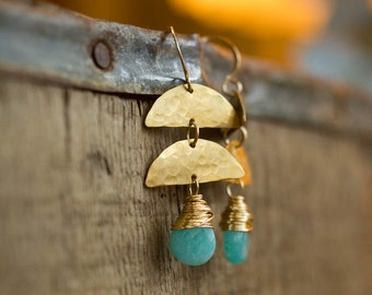 Sea Green Earrings, Hammered Jewelry, Half Moon Earring, Geometric Jewelry, Gift for Her