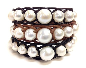 Freshwater Pearl and Leather Bracelet - MusCha