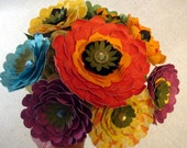 Paper Flowers 8 Big And Bright on Stems..use as a Wedding Boquuet or Flower Arrangement