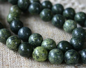 40pcs Natural Gemstone Beads Russian Serpentine 10mm 16 Inches