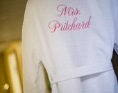 Bride Robe Bridesmaid Robe Personalized Getting Ready Robes Front and back embroidery