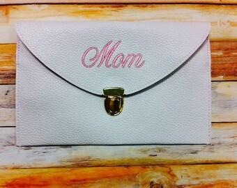 White Monogrammed Clutch Purse Bride Maid Of Honor Bridesmaid Gift Crossbody Bag Purse Envelope