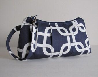 Wristlet, Clutch, Zipper Pouch, Bridesmaid Gift, Gift For Her, Bridesmaid Wristlet, Gift Idea For Her  - Gotcha Links in Navy