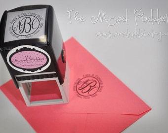 Custom Self-Inking Round Monogram Address Stamp