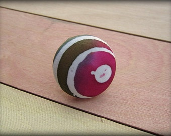Covered Button Brooch Pin in  Pink  Golden Brown Hand Painted Silk