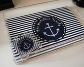 Lucite Serving Tray Personalized  monogram tray Nautical Navy