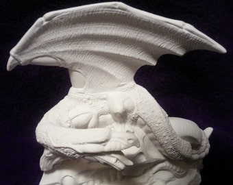 Dragon on animal skull ceramic bisque-you paint. Nice detailed piece.