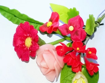Miniature Polymer Clay Flowers Supplies Gerbera, Pansy and Rose 1 Bunch
