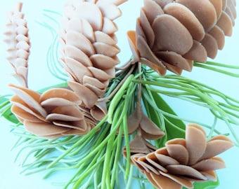 Handmade Miniature Polymer Clay Supplies Pine Cone Bouquet