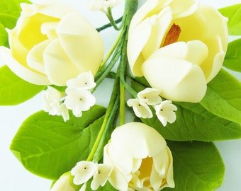Handmade Miniature Polymer Clay Supplies Magnolia Bouquet