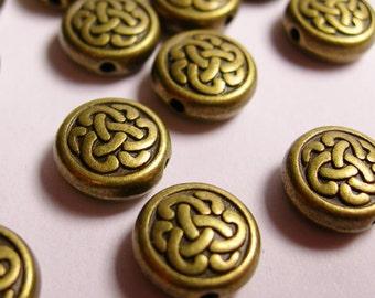Celtic beads - brass color - hypoallergenic- 20 pcs - antique beass celtic beads -  ZAB11