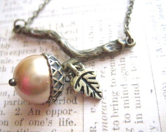 Acorn Necklace - Branch with Acorn Necklace