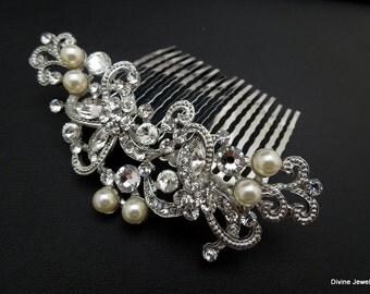 Ivory swarovski Pearls Bridal hair comb Pearl Rhinestone Hair Comb Bridal Pearl Rhinestone Hair Comb Wedding Rhinestone Hair Comb NAYA