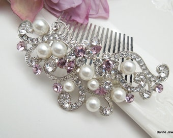 Purple Swarovski Crystal and Pearl Wedding Comb Wedding Hair Accessories Vintage Style wedding crystal hair comb Bridal Hair Comb KENDRA