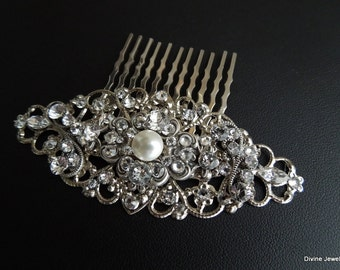 Pearl Bridal Hair Comb, Wedding Hair Comb, Bridal Rhinestone Pearl Hair Comb, crystal and pearl Hair Comb, swarovski Pearl hair comb, CLAUDE