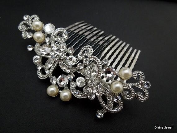 Brautschmuck haare kamm  Ivory swarovski Pearls Bridal hair comb Pearl Rhinestone Hair