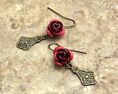 Red Rose Earrings, Victorian Filigree Dangled, Brass Drop, Medium Length