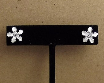 White Flower Earrings, Studs, Enamel, Silver Plated