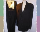 Vintage Rockabilly Suit Late 1940s or 1950s 40/42 Chest Deep Brown w Specks Tappered Cuffed Slacks