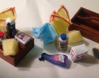 Dolls House Miniatures- 1/12th Handmade Cleaning Box Kit