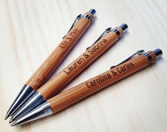 Pen Custom Engraved. Bamboo Pen. Wood Wedding Guest Book. Signing