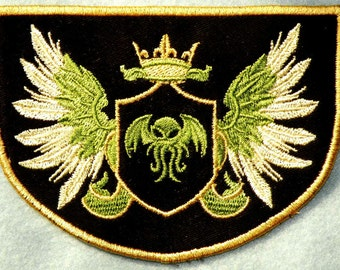 """King Cthulhu Crest Iron on Patch 4.5"""" x 3.23"""""""