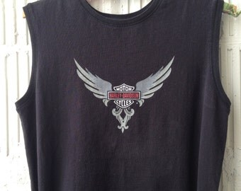 Harley Davidson 80s Sleveless Tee Size Small