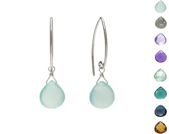 Sterling Silver Gemstone Earrings, Simple Sterling Silver Earrings with Gem Choice, Silver Dangle Gemstone Earrings, Silver Leaf Earrings