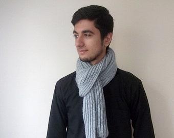 Men or Women Gray Knit Scarf for winter
