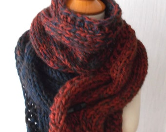 Chunky Scarf Big Cabled Navy Dark Blue Copper Cinnamon Winter Cowl Hand Knitted