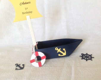 Nautical Sailboat Favor Candy Box - set of 6. Fully customizable.