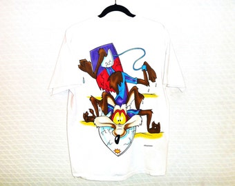 Vintage 90's Acme Extreme Team Wile E. Coyote T-Shirt with Oversized Front and Back Surfing Graphics Men's Large