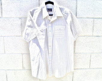 Vintage Western Short-Sleeved Striped Shirt with Pearl Snap Buttons by Panhandle Slim®