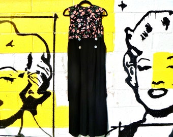 Vintage 1990's Deadstock Sheer Floral Ruffle Top One Piece Jumpsuit with Black Wide Leg Slacks by Chroma Women's Size Small