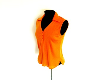 Vintage 80's Orange Jersey Cotton Henley Collar Tank Preppy Sleeveless Shirt by You Babes® Size Medium