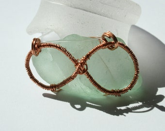 Aqua Infinity Sea Glass Necklace Copper Blue