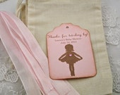 Pink Ballerina Baby Shower Favor Kit DIY (Do It Yourself) Muslin Bags, Personalized Tag, Ribbon Set of 10