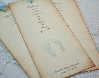 Baby Shower Bookmark Favors Boy Footprints You Choose Ribbon Color Personalized
