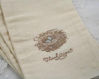Boy Bird Nest Favor Bags Blue Eggs Thank You Favor Bags Set of 10
