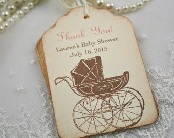 Personalized Baby Shower Tags Thank You Favor Tags Pink Girl Set of 10