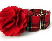 Red Plaid Martingale Dog Collar with Red Flower Accessory - 1.5 Inch Wide - Scottie Plaid