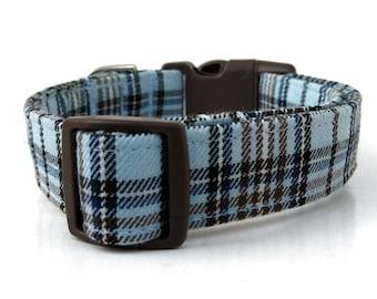 Plaid Dog Collar in Baby Blue