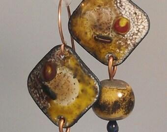 Enamel and Raku Earrings - Ochre