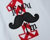 If You Mustache I'm One Appliqued Tee - MADE to MATCH Party Theme